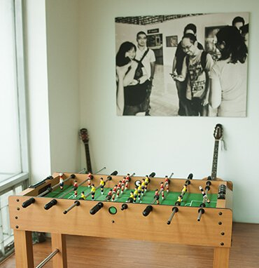Lounge with foos ball